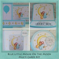 Blue Little Mouse On The Moon Multi Cards Kit