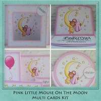 Pink Little Mouse On The Moon Multi Card Kit