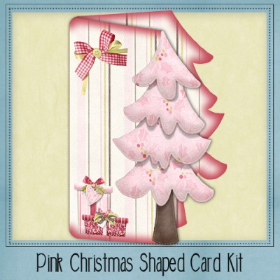 Pink Christmas Shaped Card Kit