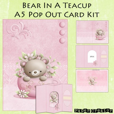 Bear In A Teacup - A5 Pop Out Card Kit