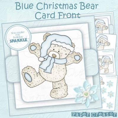 Blue Christmas Bear - Quick Card Front