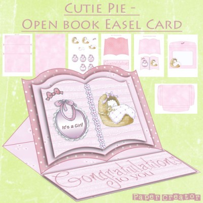 Cutie Pie - Open Book Easel Card