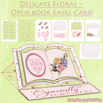 Delicate Floral - Open Book Easel Card