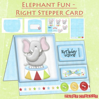 Elephant Fun - Right Stepper Card Kit