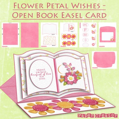 Flower Petal Wishes - Open Book Easel Card