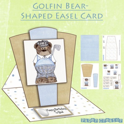 Golfin Bear - Shaped Easel Card Kit