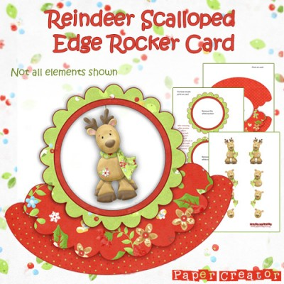 Reindeer - Scalloped Edge Rocker Card Kit