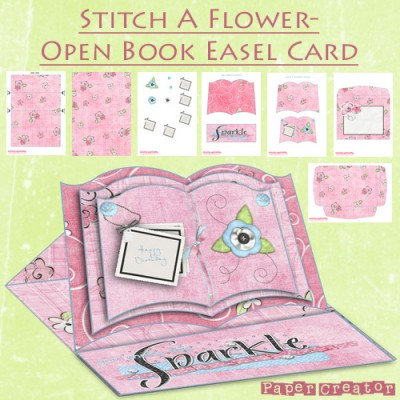 Stitch A Flower - Open Book Easel Card
