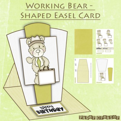 Working Bear - Shaped Easel Card Kit