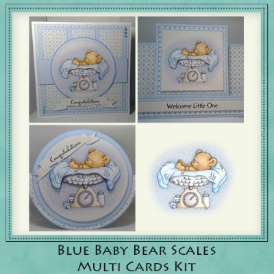 Blue Baby Bear Scales Multi Cards Kit
