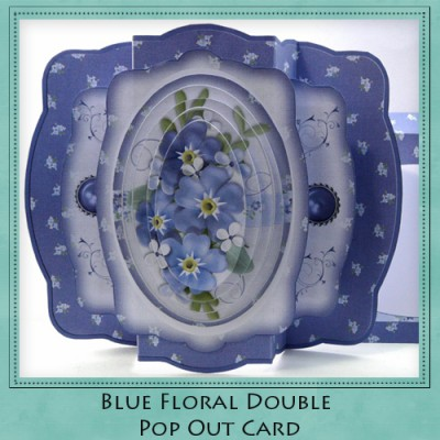 Blue Floral Double Pop Out Card Kit