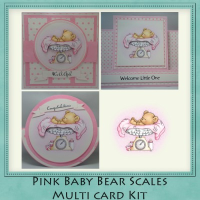 Pink Baby Bear Scales Multi Cards Kit