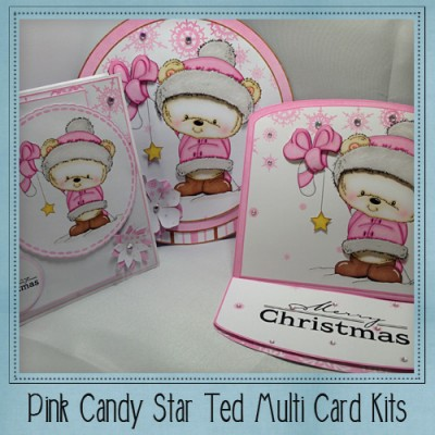 Pink Candy Star Ted Multi Card Kit