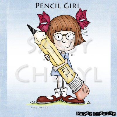 Pencil Girl With Glasses